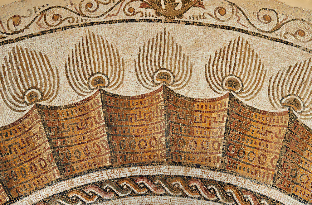 Pictures of an apse Roman mosaics design depicting a peacock spreading its tail feathers between two winged angels or cupids holding long candle sticks, from the Maison du Paon in the ancient Roman city of Thysdrus. 3rd century AD. El Djem Archaeological Museum, El Djem, Tunisia. .<br /> <br /> If you prefer to buy from our ALAMY PHOTO LIBRARY  Collection visit : https://www.alamy.com/portfolio/paul-williams-funkystock/roman-mosaic.html  . Type -   El Djem   - into the LOWER SEARCH WITHIN GALLERY box. Refine search by adding background colour, place, museum etc<br /> <br /> Visit our ROMAN MOSAIC PHOTO COLLECTIONS for more photos to download  as wall art prints https://funkystock.photoshelter.com/gallery-collection/Roman-Mosaics-Art-Pictures-Images/C0000LcfNel7FpLI