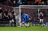 Football - 2019 / 2020 William Hill Scottish Cup - Quarter-Final: Heart of Midlothian vs. Rangers<br /> <br /> Oliver Bozanic of Hearts scores to make it 1-0 to Hearts, at Tynecastle Park, Edinburgh.<br /> <br /> COLORSPORT/BRUCE WHITE