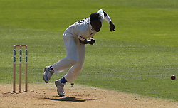 April 20, 2018 - London, Greater London, United Kingdom - Fidel Edwards of Hampshire ccc.during Specsavers County Championship - Division One, day one match between Surrey CCC and Hampshire CCC at Kia Oval, London, England on 20 April 2018. (Credit Image: © Kieran Galvin/NurPhoto via ZUMA Press)