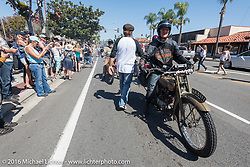 3,400 miles from the Atlantic to the Pacific - The journey is over. Harry Verkuil of Scotland riding his 1916 Model F class-3 Harley-Davidson crosses the finish line of the Motorcycle Cannonball Race of the Century. Stage-15 ride from Palm Desert, CA to Carlsbad, CA. USA. Sunday September 25, 2016. Photography ©2016 Michael Lichter.