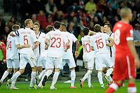 Bern, 12.10.2012, Fussball WM 2014 Quali, Schweiz - Norwegen, Jubel bei den Norwegern nach dem Ausgleichstreffer zum 1:1. (Daniel Christen/EQ Images)