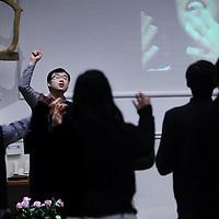Nederland, Amsterdam , 13 december 2014.<br /> Chinese christelijke studenten komen elke zaterdag bijeen in de Oosterparkkerk in Amsterdam: Oosterpark 4 (hoek Tweede Boerhaavestraat).<br /> Foto:Jean-Pierre Jans
