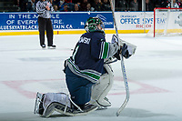 KELOWNA, CANADA - APRIL 25: Carl Stankowski #1 of the Seattle Thunderbirds kneels on the ice during a time out against the Kelowna Rockets on April 25, 2017 at Prospera Place in Kelowna, British Columbia, Canada.  (Photo by Marissa Baecker/Shoot the Breeze)  *** Local Caption ***