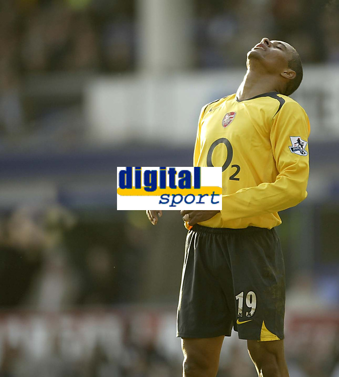 Photo: Aidan Ellis.<br /> Everton v Arsenal. The Barclays Premiership. 21/01/2006.<br /> Arsenal's Gilberto rues a missed chance