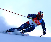 Photo: Catrine Gapper.<br />Winter Olympics, Turin 2006. Alpine Skiing Mens Giant Slalom. 20/02/2006. Erik Schlopy of USA finishes in thirteenth place in Men s Giant Slalom.