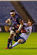 Viliame Mata (#8) of Edinburgh Rugby is tackled during the Guinness Pro 14 2019_20 match between Edinburgh Rugby and Cardiff Blues at BT Murrayfield Stadium, Edinburgh, Scotland on 28 February 2020.