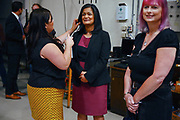 Candidate Leslie Regier, right, looks on as candidate Pramila Jayapal has the final touches put on her hair and make up prior to the 7th Congressional District democratic primary debate, Wednesday, May 25, 2016, the University of Washington. Jayapal went on to become the first Indian American woman elected to the House of Representatives.