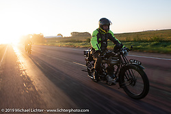 Chris Parry riding his 1923 Norton in the Motorcycle Cannonball coast to coast vintage run. Stage 8 (314 miles) from Spirit Lake, IA to Pierre, SD. Saturday September 15, 2018. Photography ©2018 Michael Lichter.
