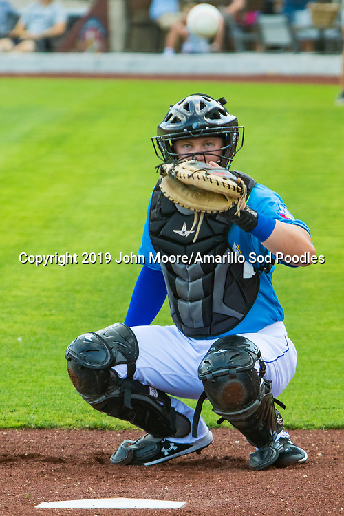 Amarillo Sod Poodles catcher A.J. Kennedy (8) after the game against the Northwest Arkansas Travelers on Sunday, July 21, 2019, at HODGETOWN in Amarillo, Texas. [Photo by John Moore/Amarillo Sod Poodles]