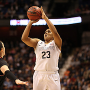 Kaleena Mosqueda-Lewis, UConn, shoots for three during the UConn Vs Cincinnati Quarterfinal Basketball game at the American Women's College Basketball Championships 2015 at Mohegan Sun Arena, Uncasville, Connecticut, USA. 7th March 2015. Photo Tim Clayton