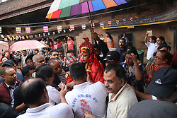 August 9, 2017 - Kathmandu, Nepal - Living Goddess Kumari is carried during her pilgrimage visit to different bahals for observing Buddhist shrines during '''Bahi Dya Byoyegu'', means the visit to Bahals (in local language) on the following day of Gaijatra festival at Itumbahal, Kathmandu. (Credit Image: © Archana Shrestha/Pacific Press via ZUMA Wire)