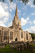 St John the Baptist church with spire, Burford, Oxfordshire, England, UK