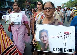 September 7, 2017 - Kolkata, India - Leftist students organisation SFI, DYFI participates in  a protest rally for killing of journalist Gauri Lankesh in Kolkata , India  on Thursday,  7th September, 2017. (Credit Image: © Sonali Pal Chaudhury/NurPhoto via ZUMA Press)