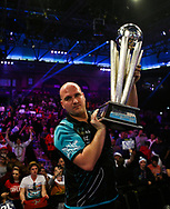 ROB CROSS WINNING the PDC World Darts Championship Final at Alexandra Palace, London, United Kingdom on 1 January 2018. Photo by Chris Sargeant.