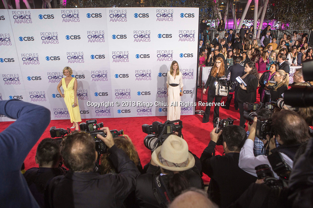 Brittany Snow and Ellen Pompeo arrive at the 39th Annual People's Choice Awards at Nokia Theatre L.A. Live on Wednesday January 9, 2013 in Los Angeles, California, United States. (Photo by Ringo Chiu/PHOTOFORMULA.com)