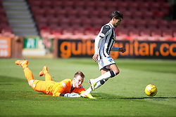 Dunfermline's Faissal El Bahktaoui scoring their second goal past Cowdenbeath's keeper Michael Andrews. <br /> Half time : Dunfermline 4 v 0 Cowdenbeath, SPFL Ladbrokes League Division One game played 15/8/2015 at East End Park.