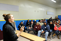 Christina Connery, left, conducts training for volunteers at the 2017 Point-In-Time Homeless Count and Survey conducted by the Coalition of Homeless Service Providers in Salinas early Wednesday morning, Jan. 25th.