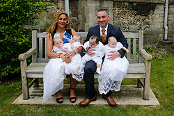 EXCLUSIVE Tracey Britten and husband Stephen get their quads christened. Tracey became the UK's oldest mother to quads when she gave birth in 2018 aged 50.<br />