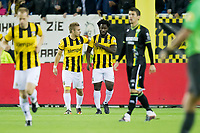 ARNHEM - Vitesse - ADO Den Haag, Voetbal KNVB beker, seizoen 2011-2012, 26-10-2011, Stadion de Gelredome, Vitesse speler Marcus Pedersen (2L) heeft de 1-0 gescoord, Vitesse speler Frank van der Struijk (L), Vitesse speler Wilfried Bony (2R), ADO Den Haag speler Christian Kum (R) baalt.