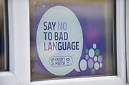 say no to bad language campaign poster EFL during the EFL Sky Bet League 1 match between Portsmouth and Blackpool at Fratton Park, Portsmouth, England on 24 February 2018. Picture by Adam Rivers.
