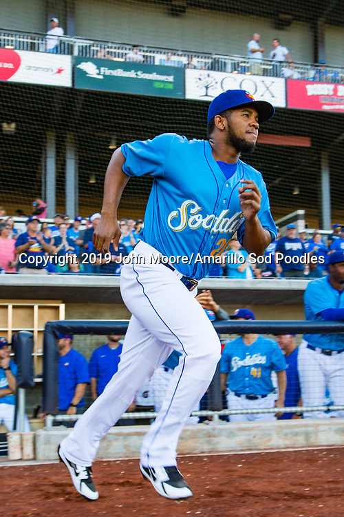 Amarillo Sod Poodles pitcher Emmanuel Ramirez (26) before the game against the MidlandRockhounds during the Texas League Playoffs on Wednesday, Sept. 4, 2019, at HODGETOWN in Amarillo, Texas. [Photo by John Moore/Amarillo Sod Poodles]