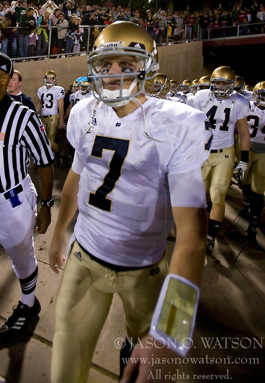 November 28, 2009; Stanford, CA, USA;  Notre Dame Fighting Irish quarterback Jimmy Clausen (7) before the game against the Stanford Cardinal at Stanford Stadium.  Stanford defeated Notre Dame 45-38.
