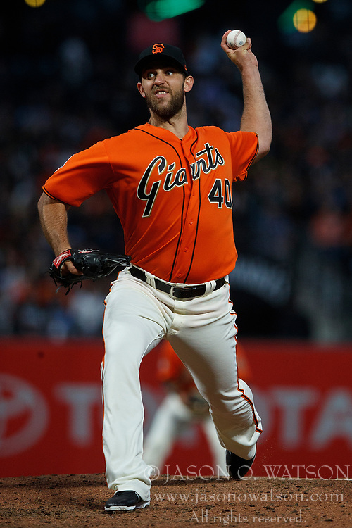 SAN FRANCISCO, CA - JULY 13: Madison Bumgarner #40 of the San Francisco Giants pitches against the Oakland Athletics during the fifth inning at AT&T Park on July 13, 2018 in San Francisco, California. The San Francisco Giants defeated the Oakland Athletics 7-1. (Photo by Jason O. Watson/Getty Images) *** Local Caption *** Madison Bumgarner