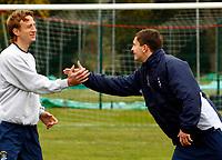 Football<br /> Petar Rnkovic of Grays having a joke with George Beavan at Grays Training  Ground<br /> 19/10/2009 Credit Colorsport / Kieran Galvin