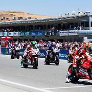 Jun 23  2018  Monterey, CA, U.S.A  SBK Racers on the starting line during the Motul FIM World Superbike Race # 1 at Weathertech Raceway Laguna Seca  Monterey, CA  Thurman James / CSM