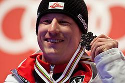 09.02.2011, Kandahar, Garmisch Partenkirchen, GER, FIS Alpin Ski WM 2011, GAP, Herren Super G, , Medal Ceremony, im Bild silber Medaillen Gewinner Hannes Reichelt (AUT) // silver Medal for Hannes Reichelt (AUT) during Men Super G, Fis Alpine Ski World Championships in Garmisch Partenkirchen, Germany on 9/2/2011. EXPA Pictures © 2011, PhotoCredit: EXPA/ J. Groder