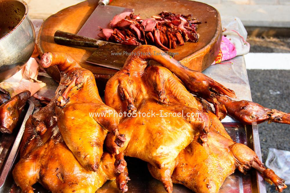 China, Xian, outdoor food market coocked ducks for sale