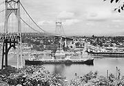 "Ackroyd 03820-1. ""S. S. Tullahoma. Shell tanker under St. Johns Bridge. August 29, 1952"" (Keystone Shipping Co.)"