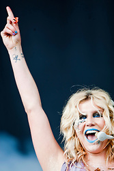 Kesha plays the main stage.<br /> T in the Park on Saturday 9th July 2011. T in the Park 2011 music festival takes place from 7-10th July 2011 in Balado, Fife, Scotland.2011,
