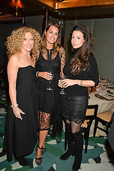 Left to right, KELLY HOPPEN, YASMIN LE BON and SHIRLEY LEIGH WOOD-OAKES at a dinner hosted by Creme de la Mer to celebrate the launch of Genaissance de la Mer The Serum Essence held at Sexy Fish, Berkeley Square, London on 21st January 2016.