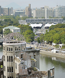 71. Jahrestag des Atombombenabwurfs in Hiroshima / 060816<br /> <br /> ***Photo taken Aug. 6, 2016, shows the Peace Memorial Park in the western Japan city of Hiroshima, which marked the 71st anniversary of the U.S. atomic bombing***