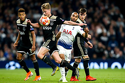 Lucas of Tottenham Hotspur takes on Frenkie de Jong of Ajax - Mandatory by-line: Robbie Stephenson/JMP - 30/04/2019 - FOOTBALL - Tottenham Hotspur Stadium - London, England - Tottenham Hotspur v Ajax - UEFA Champions League Semi-Final 1st Leg