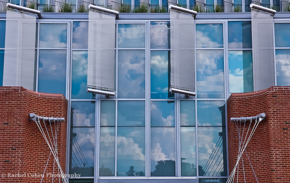 """""""Reflections Intertwined""""<br /> <br /> Reflections, deflectors, glass, bricks and cables all on the front of the science building at Eastern Michigan University!!<br /> <br /> Architecture: Structures and buildings by Rachel Cohen"""
