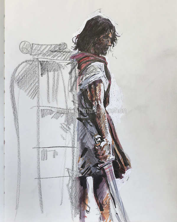 Sketch of Thorgal holding his sword, from a sketchbook used for developing characters, used since 2000, by Grzegorz Rosinski, 1941-, Polish comic book artist. Rosinski was born in Stalowa Wola, Poland, and now lives in Switzerland, and is the author and designer of many Polish comic book series. He created Thorgal with Belgian writer Jean Van Hamme. The series was first published in Tintin in 1977 and has been published by Le Lombard since 1980. The stories cover Norse mythology, Atlantean fantasy, science fiction, horror and adventure genres. Picture by Manuel Cohen / Further clearances requested, please contact us and/or visit www.lelombard.com