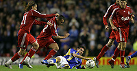 Photo: Paul Thomas.<br /> Liverpool v Cardiff City. Carling Cup. 31/10/2007.<br /> <br /> Joe Ledley of Cardiff battles on the ground for the ball.