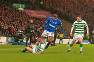 Jonny Hayes of Celtic FC wipes out Joe Aribo of Rangers FC  during the Betfred Scottish League Cup Final match between Rangers and Celtic at Hampden Park, Glasgow, United Kingdom on 8 December 2019.