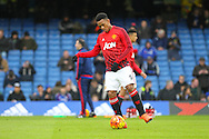 Anthony Martial of Manchester United in the warm up during the Barclays Premier League match between Chelsea and Manchester United at Stamford Bridge, London, England on 7 February 2016. Photo by Phil Duncan.