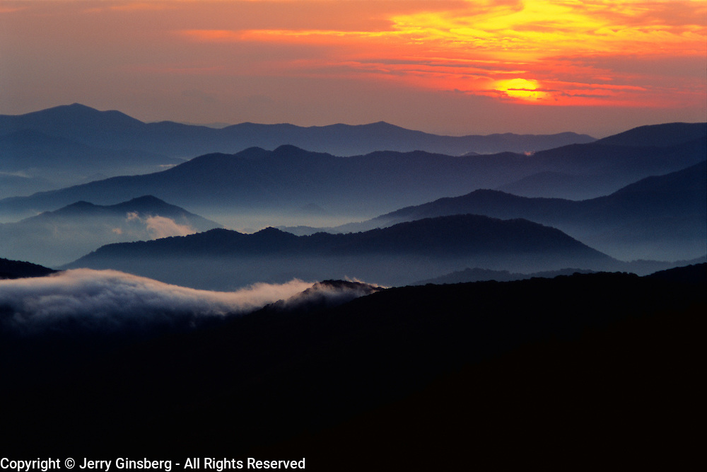 Brilliant sunset from atop Clingman's Dome in Great Smoky Mountains National Park, TN/NC.