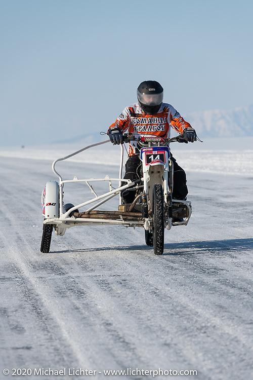 Team Uralgon's Dmitrii Orlov on his Ural Cross sidecar ice racer rig at the Baikal Mile Ice Speed Festival. Maksimiha, Siberia, Russia. Friday, February 28, 2020. Photography ©2020 Michael Lichter.