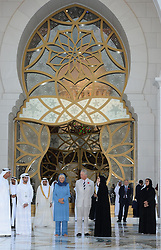 The Prince of Wales and the Duchess of Cornwall arrive at Sheikh Zayed Grand Mosque for a religious tolerance event in Abu Dhabi, United Arab Emirates, during the royal tour of the Middle East.