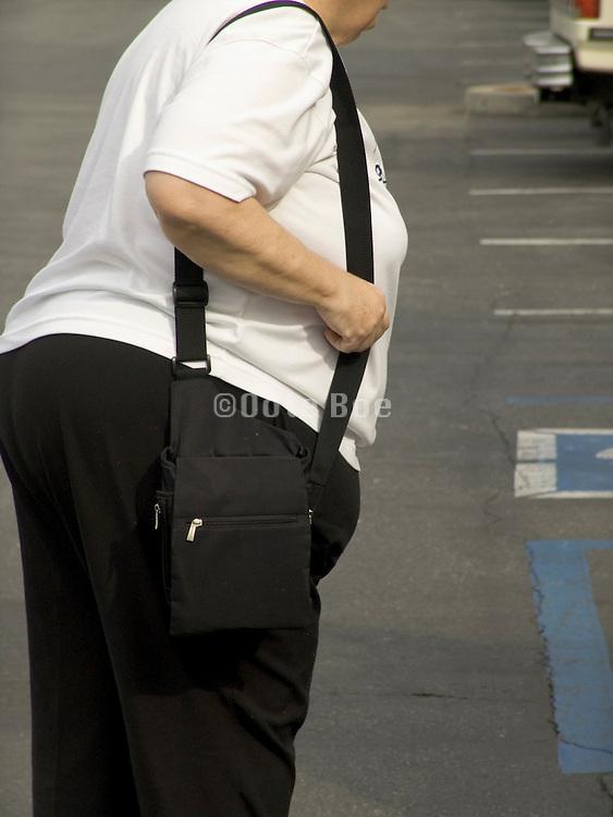 elderly overweight woman walking