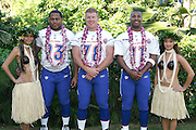 KO OLINA - FEBRUARY 11:  NFC Minnesota Vikings 2005 NFL Pro Bowl All-Stars (players left to right: Kevin Williams #93, Matt Birk #78, and Daunte Culpepper #11) pose with Hawaiian Hula girls for their 2005 NFL Pro Bowl team photo on February 11, 2005 in Ko Olina, Hawaii. ©Paul Anthony Spinelli