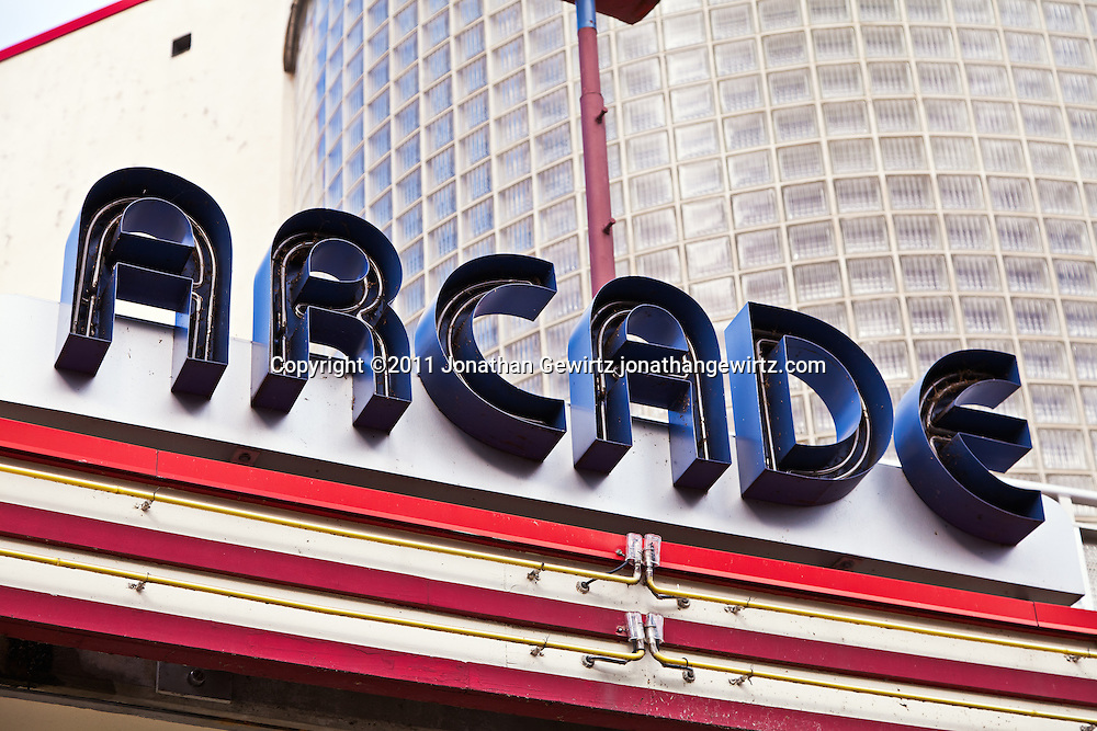 Neon sign on the deco arcade building at Glen Echo Park, Maryland. WATERMARKS WILL NOT APPEAR ON PRINTS OR LICENSED IMAGES.