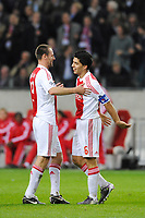 FOOTBALL - UEFA CHAMPIONS LEAGUE 2010/2011 - GROUP STAGE - GROUP G - AJAX AMSTERDAM v AJ AUXERRE - 19/10/2010 - PHOTO GUY JEFFROY / DPPI - ANDRE OOIJER / LUIS SUAREZ (AJAX)