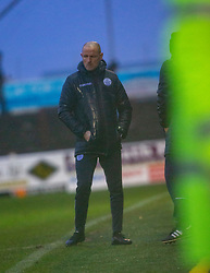 Queen of the South's Manager Allan Johnston at the end. Arbroath 2 v 0 Queen of the South, Scottish Championship game played 15/2/2020 at Arbroath's home ground, Gayfield Park.