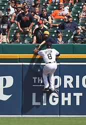 August 10, 2017 - Detroit, MI, USA - Detroit Tigers left fielder Justin Upton is unable to track down a home run by the Pittsburgh Pirates' Sean Rodriguez in the eighth inning on Thursday, Aug. 10, 2017, at Comerica Park in Detroit. The Pirates won, 7-5. (Credit Image: © Kirthmon F. Dozier/TNS via ZUMA Wire)